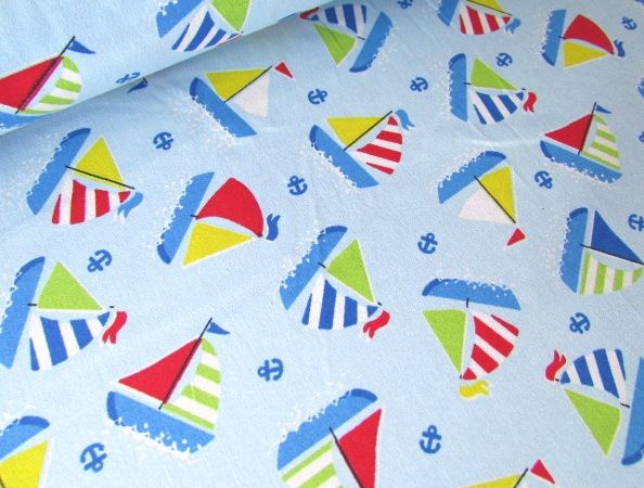 Sail Boats on Blue by Rose & Hubble 100% Cotton