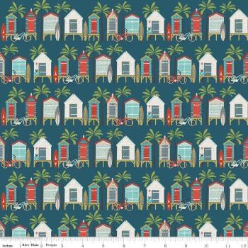 Offshore Beach Hut Blue by Riley Blake Designs 100% Cotton