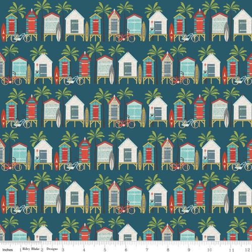 Offshore Beach Hut Blue by Riley Blake Designs 100% Cotton