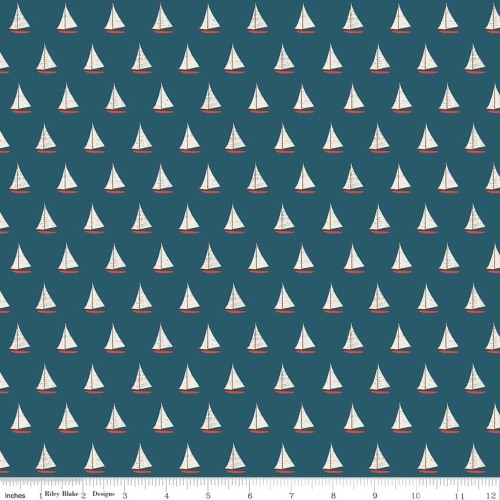 Offshore Sailboat Blue by Riley Blake Designs 100% Cotton