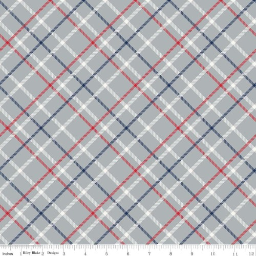 Play Ball 2 Plaid Grey by Riley Blake Designs 100% Cotton
