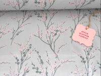 Japanese Spring Blossom Grey by Rose & Hubble 100% Cotton