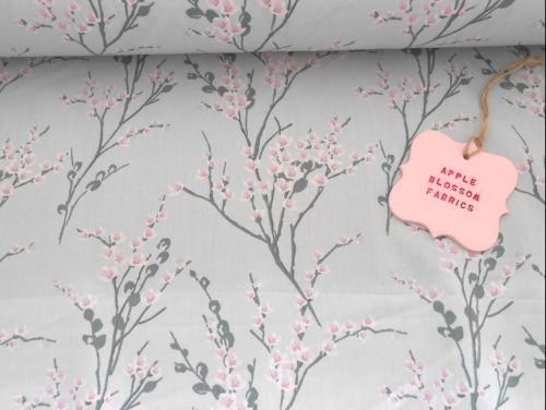 Japanese Spring Blossom Grey 100% Cotton