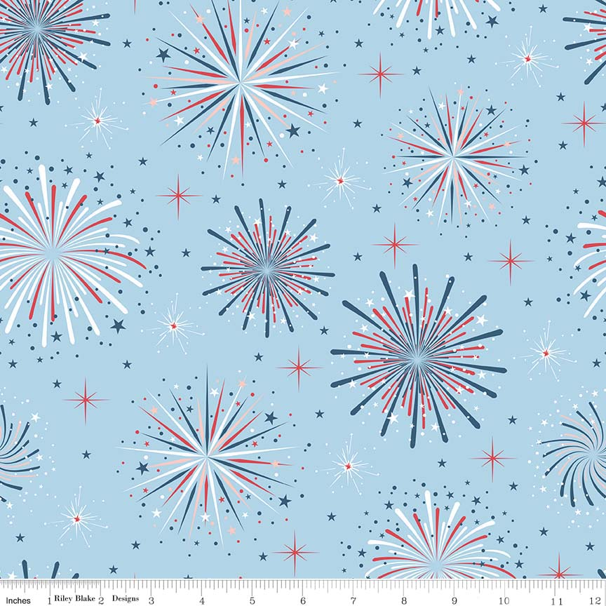 Parade Fireworks Blue by Riley Blake 100% Cotton