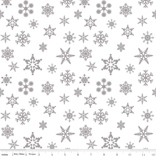 Snowflake Sparkle Silver by Riley Blake Designs 100% Cotton
