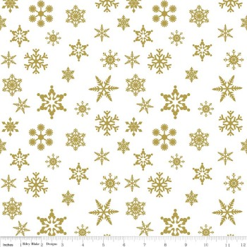 Snowflake Sparkle Gold by Riley Blake Designs 100% Cotton
