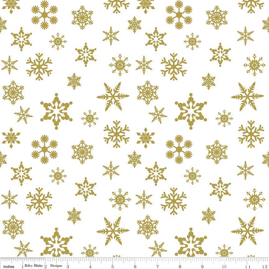 Snowflake Sparkle Gold by Riley Blake Designs 100% Cotton