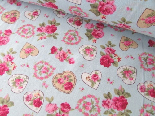 Blue Rose Vintage Floral Hearts 100% Cotton