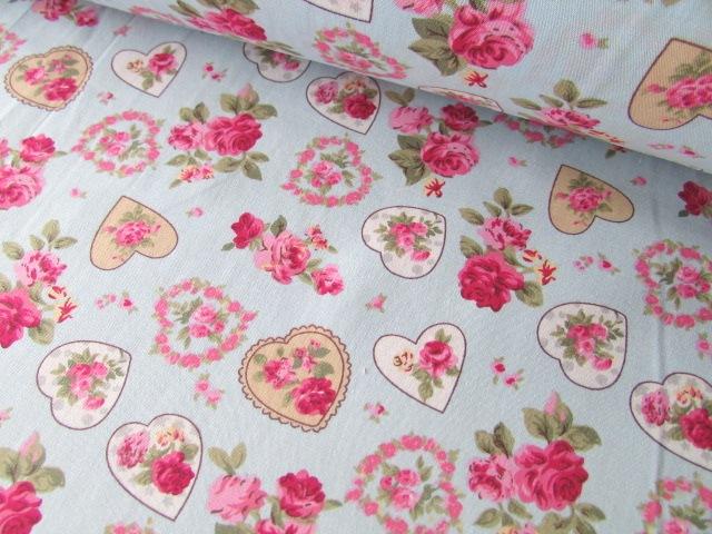 Blue Rose Vintage Floral Hearts 100% Cotton