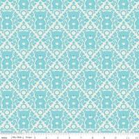 Teddy Bear Picnic Damask Aqua by Riley Blake Designs 100% Cotton