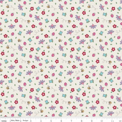 Teddy Bear Picnic Floral Cream by Riley Blake Designs 100% Cotton