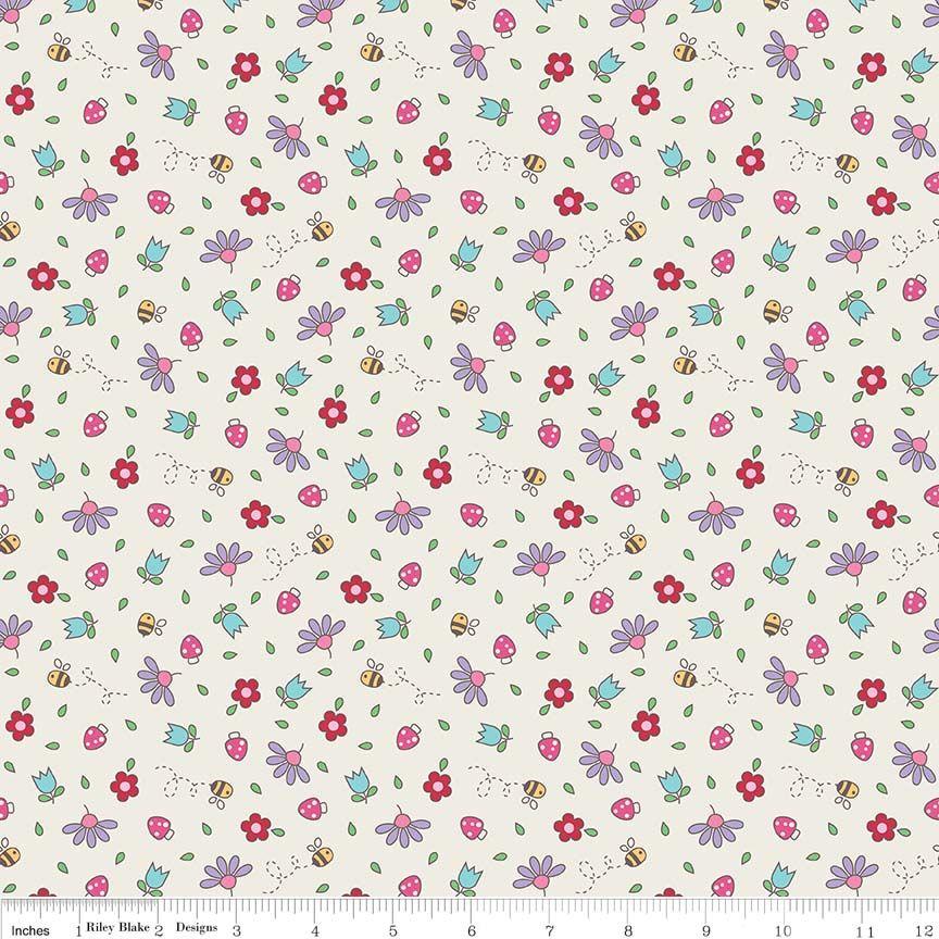 Teddy Bear Picnic Floral Cream by Riley Blake Designs 100% Cotton