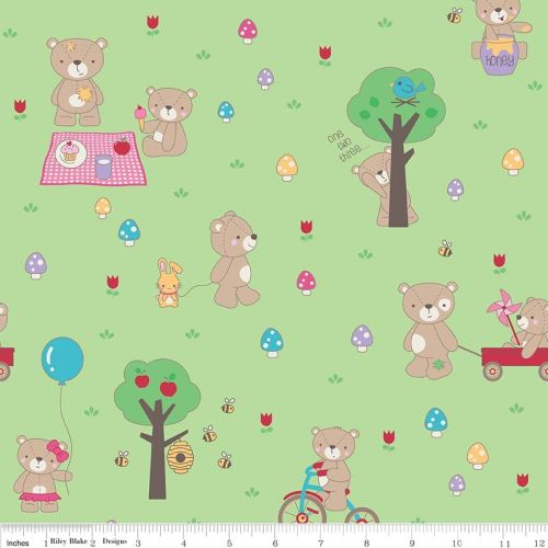 Teddy Bear Picnic Main Green by Riley Blake Designs 100% Cotton
