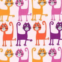 Pets A Plenty Dancing Cats Coral by Michael Miller 100% Cotton