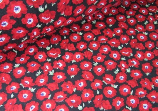 Red Poppies on Black by Rose & Hubble 100% Cotton