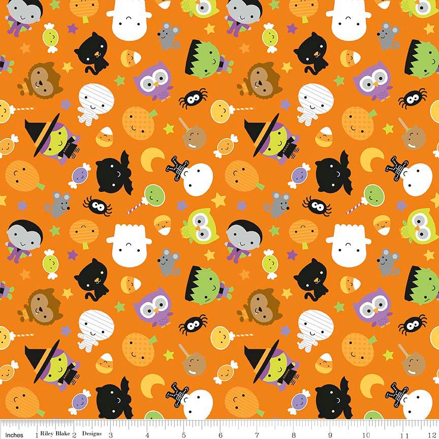 Ghouls and Goodies Main Orange by Riley Blake Designs 100% Cotton
