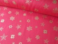Gold Christmas Stars and Snowflakes on Red by Rose & Hubble 100% Cotton