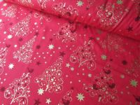 Gold Christmas Trees on Red by Rose & Hubble 100% Cotton Extra Wide