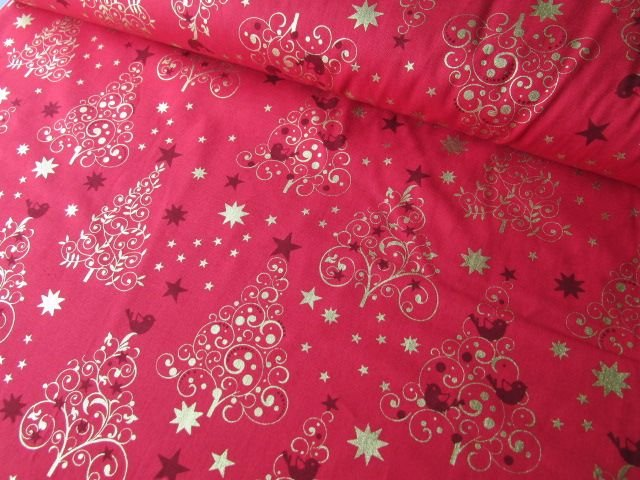 Gold Christmas Trees on Red by Rose & Hubble 100% Cotton