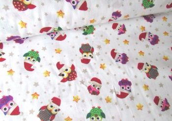 Christmas Festive Owls by Rose & Hubble 100% Cotton Extra Wide