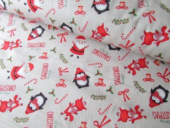 Foxy Festive Christmas, Santa & Penguins on Beige by Rose & Hubble 100% Cot