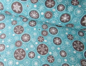 Snowflakes and Christmas Circles  by Rose & Hubble 100% Cottton Extra Wide