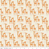 Giraffe Crossing 2 Giraffes Orange by Riley Blake Designs 100% Cotton