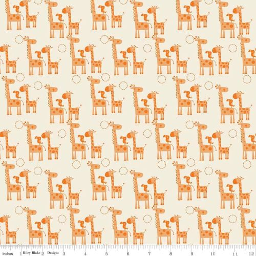 Giraffe Crossing 2 Giraffes Orange by Riley Blake Designs 100% Cotton