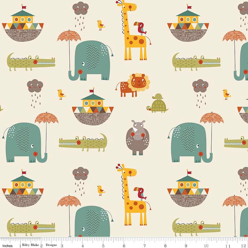Giraffe Crossing 2 Main Cream by Riley Blake Designs 100% Cotton