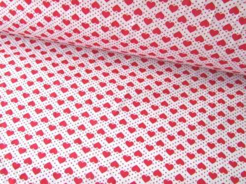 Red Hearts and Spots on White Rose & Hubble 100% Cotton