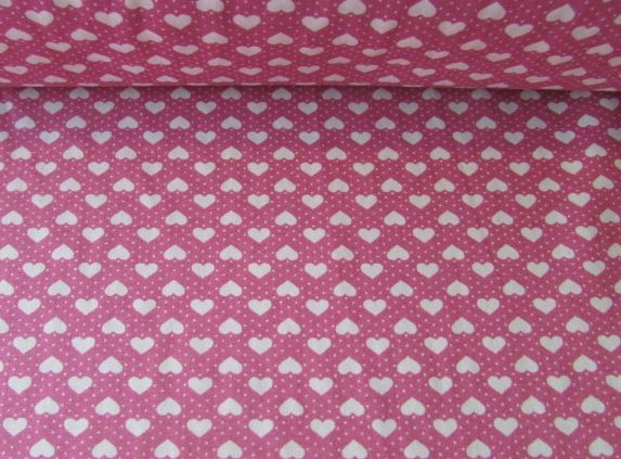 White Hearts and Spots on Dusky Pink Rose & Hubble 100% Cotton