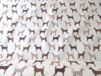Beige & Brown Dogs on Cream by Rose & Hubble 100% Cotton