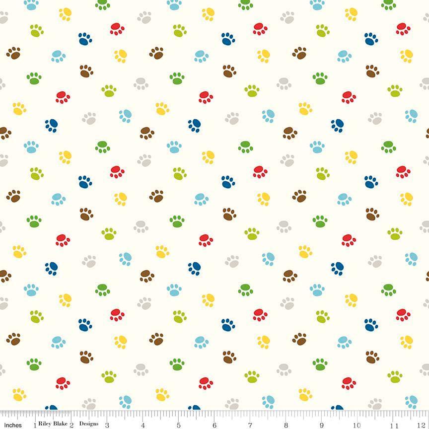 Rover Paw Cream by Riley Blake Designs 100% Cotton