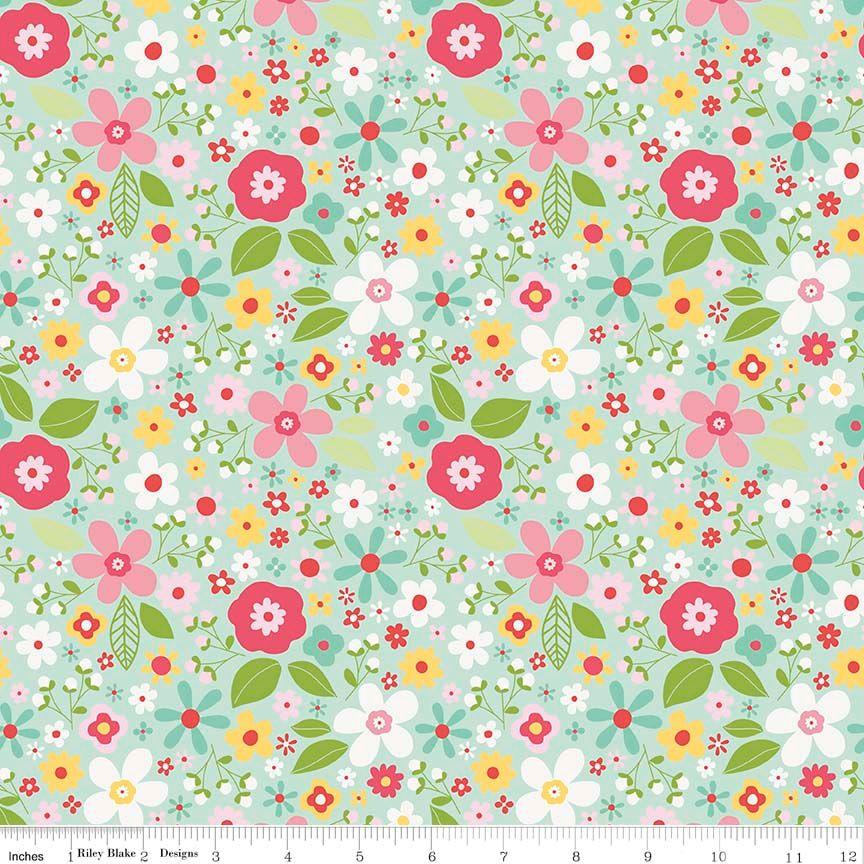 Garden Girl Floral Mint by Riley Blake Designs 100% Cotton