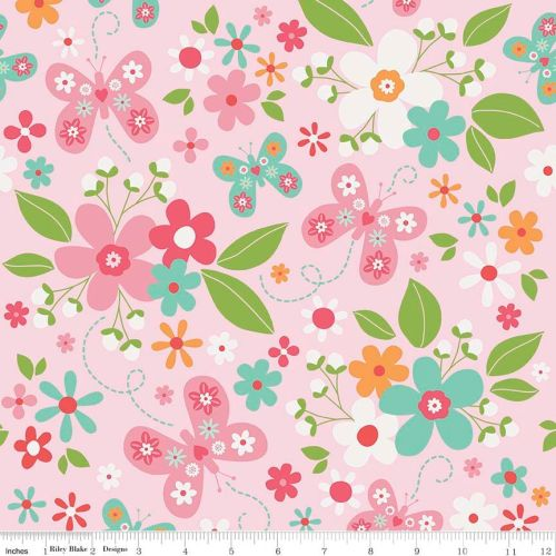 Garden Girl Main Pink by Riley Blake Designs 100% Cotton