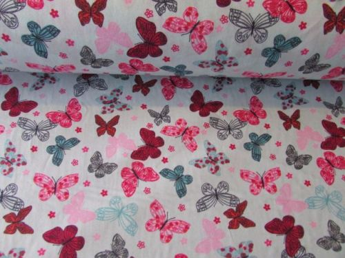 Butterflies on Mint by Rose & Hubble 100% Cotton