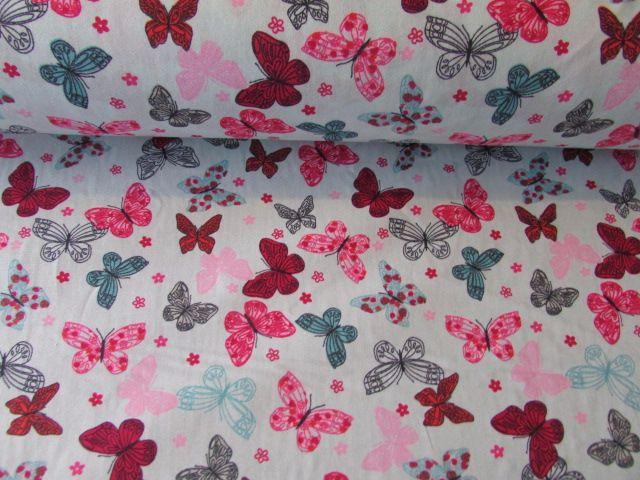 Butterflies on Mint by Rose & Hubble 100% Cotton