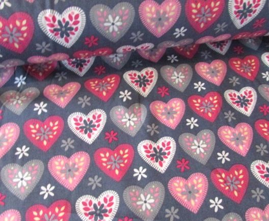 Hearts on Grey by Rose & Hubble 100% Cotton