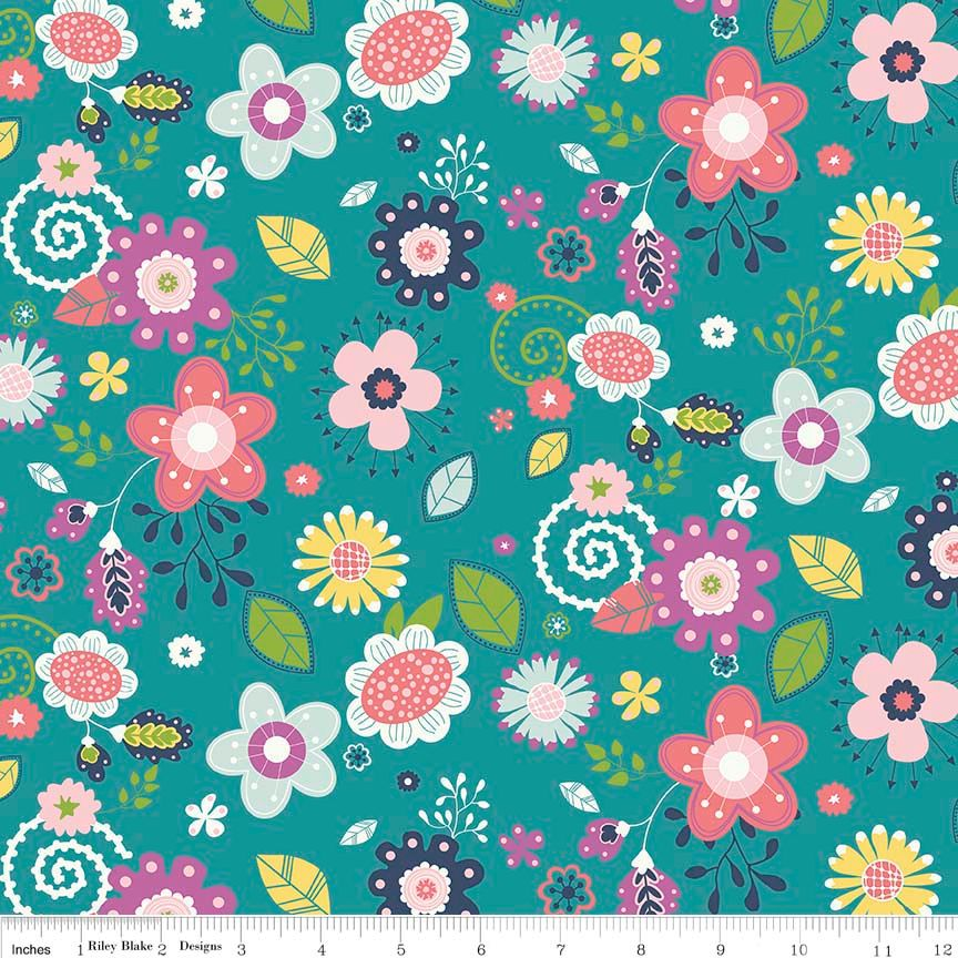 Enchanted Main Teal by Riley Blake Designs 100% Cotton