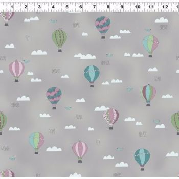 All Afloat Balloons Grey by Clothworks 100% Cotton