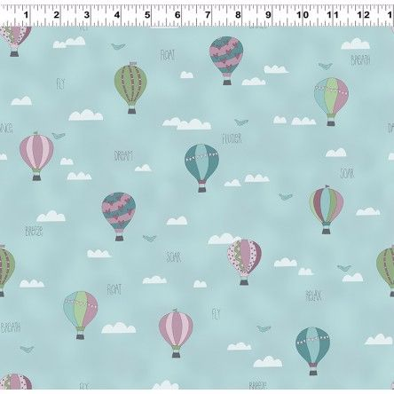 All Afloat Balloons Blue by Clothworks 100% Cotton