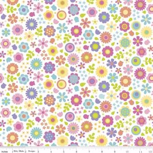 Under The Sea Flowers White by Riley Blake Designs 100% Cotton