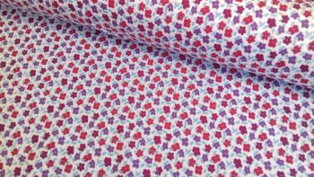 Camilla Floral Petals Pink Purple & Blue by Rose & Hubble 100% Cotton