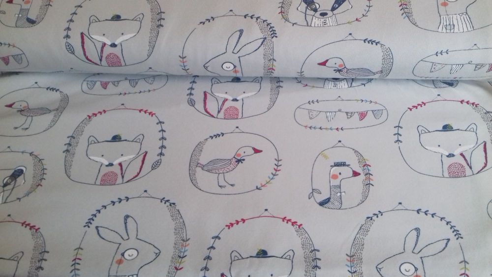 Playful Animals Grey Jersey by John Louden