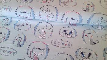 Playful Animals Mint Jersey by John Louden
