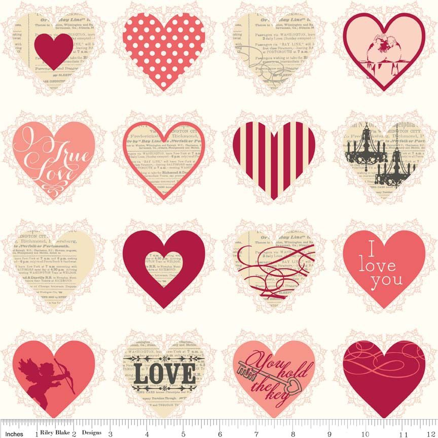 Lost and Found Love Valentines Hearts Pink by Riley Blake 100% Cotton 33 x