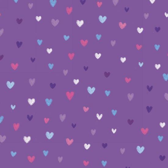 Unicorn Kisses Hearts Purple by Studio E Fabrics 100% Cotton