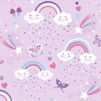 Unicorn Kisses Rainbow Clouds Lilac by Studio E Fabrics 100% Cotton