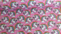 Unicorns & Rainbows Pink by Rose & Hubble 100% Cotton