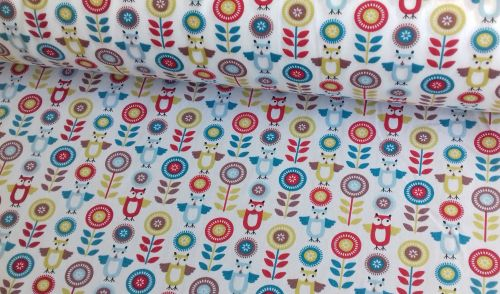 Owls & Flowers Red Blue Green by Rose & Hubble 100% Cotton